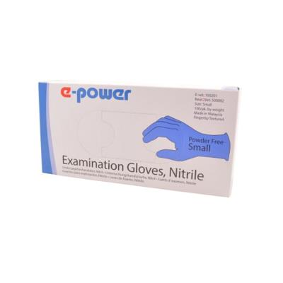 Examination gloves, powder free, Nitril, S, 100 pices, e-pow