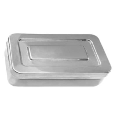 Stainless steel sterilization box with lid, 18x8x4cm