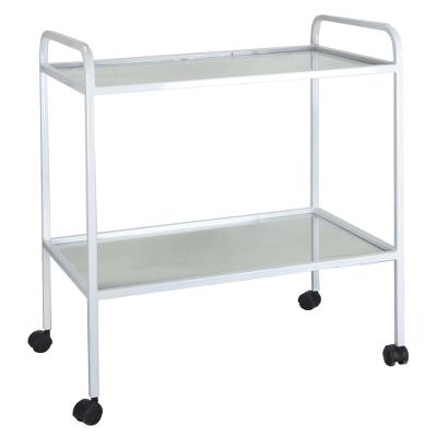 Instrument table with 2 glass shelves on wheels 50x60cm