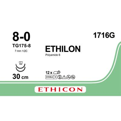 Suture,8-0 , TG175-8, 30cm, black, Ethilon®, Ethicon