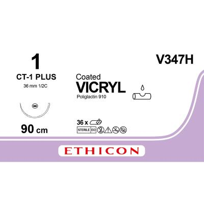 Suture, Vicryl 1, CT-1, 90cm, Ethicon