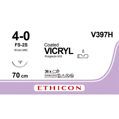 Suture, Vicryl 4-0, FS-2S, Slimmed, 70cm, Ethicon