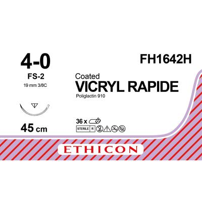Suture, Vicryl Rapide 4-0, FS-2, Non-colored, 45cm, Ethicon