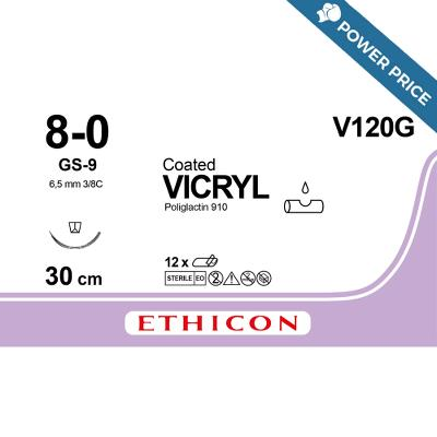 Suture, Vicryl 8-0, GS-9, 30cm, Ethicon