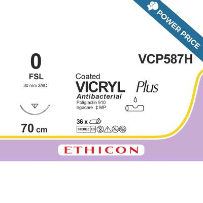 Suture, Vicryl Plus 0, FSL, 70cm, Ethicon