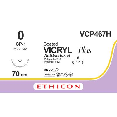 Suture, Vicryl Plus 0, CP-1, 70cm, Ethicon