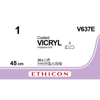 Suture, Vicryl 1, SUTUPAK, 3x45cm, Non-colored, Ethicon