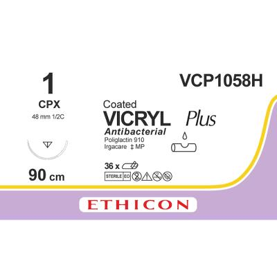 Suture, Vicryl Plus 1, CPX, 90cm, Ethicon