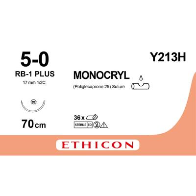 Suture, Monocryl, 5-0, RB-1, 70cm, Ethicon