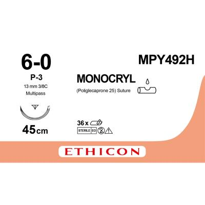 Suture, Monocryl, 6-0, P-3, Multi-Pass, 45cm, Ethicon