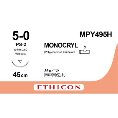 Suture, Monocryl, 5-0, P-3, Multi-Pass, 45cm, Ethicon