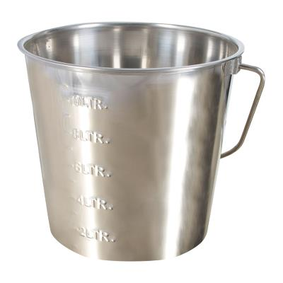 Bucket 12,3 liter Stainless steel with handle and graduation